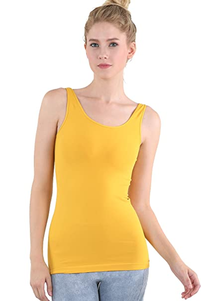 ca7806e38dafb Amazon.com  Nikibiki Womens Seamless Wide Strap Tank One Size ...