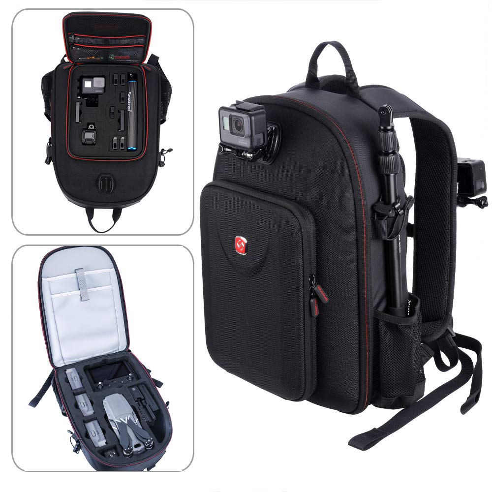 Smatree Travel Backpack Compatible for DJI Mavic 2 Pro/Zoom Drone with Smart Controller/GoPro Hero 2018/Hero 7/6/5/4/3 Camera