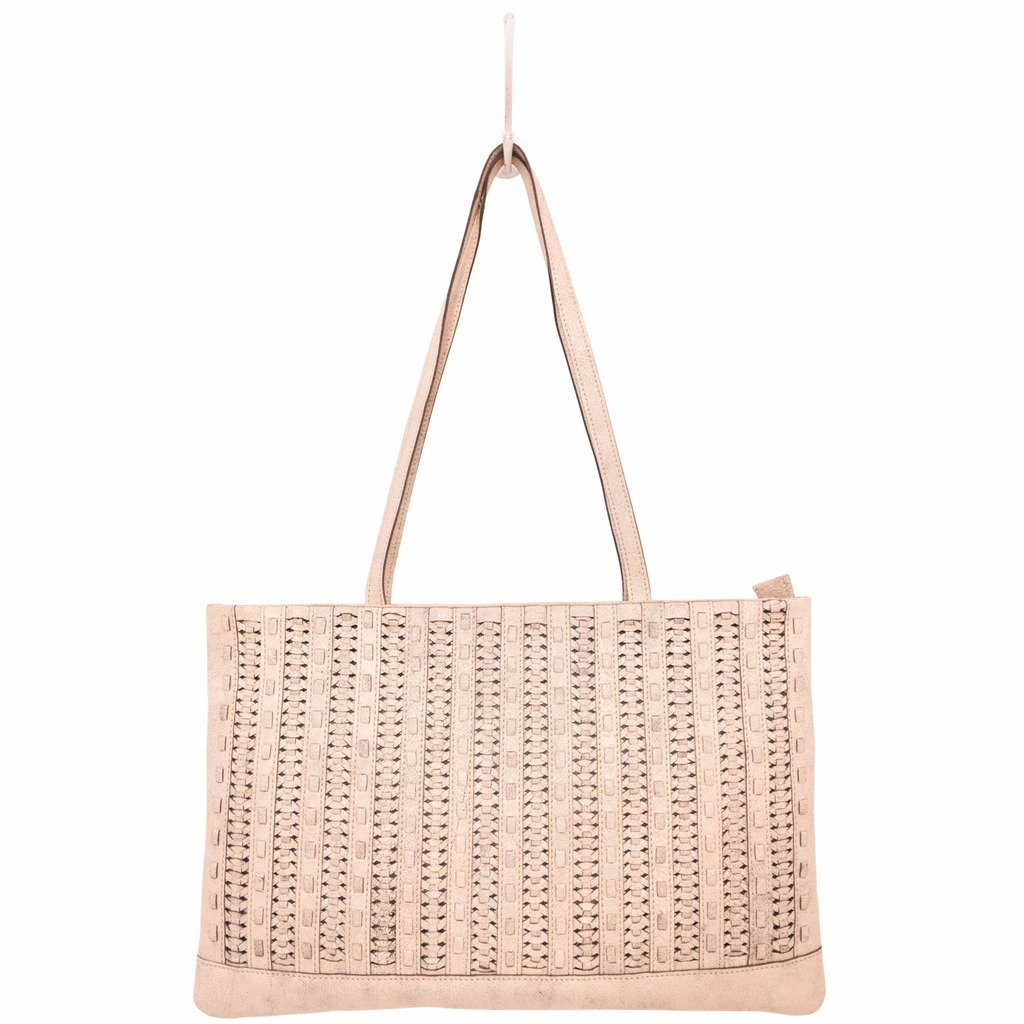 Latico Leathers Mona Tote Genuine Authentic Luxury Leather, Designer Made, Business Fashion and Casual Wear, Crackle White