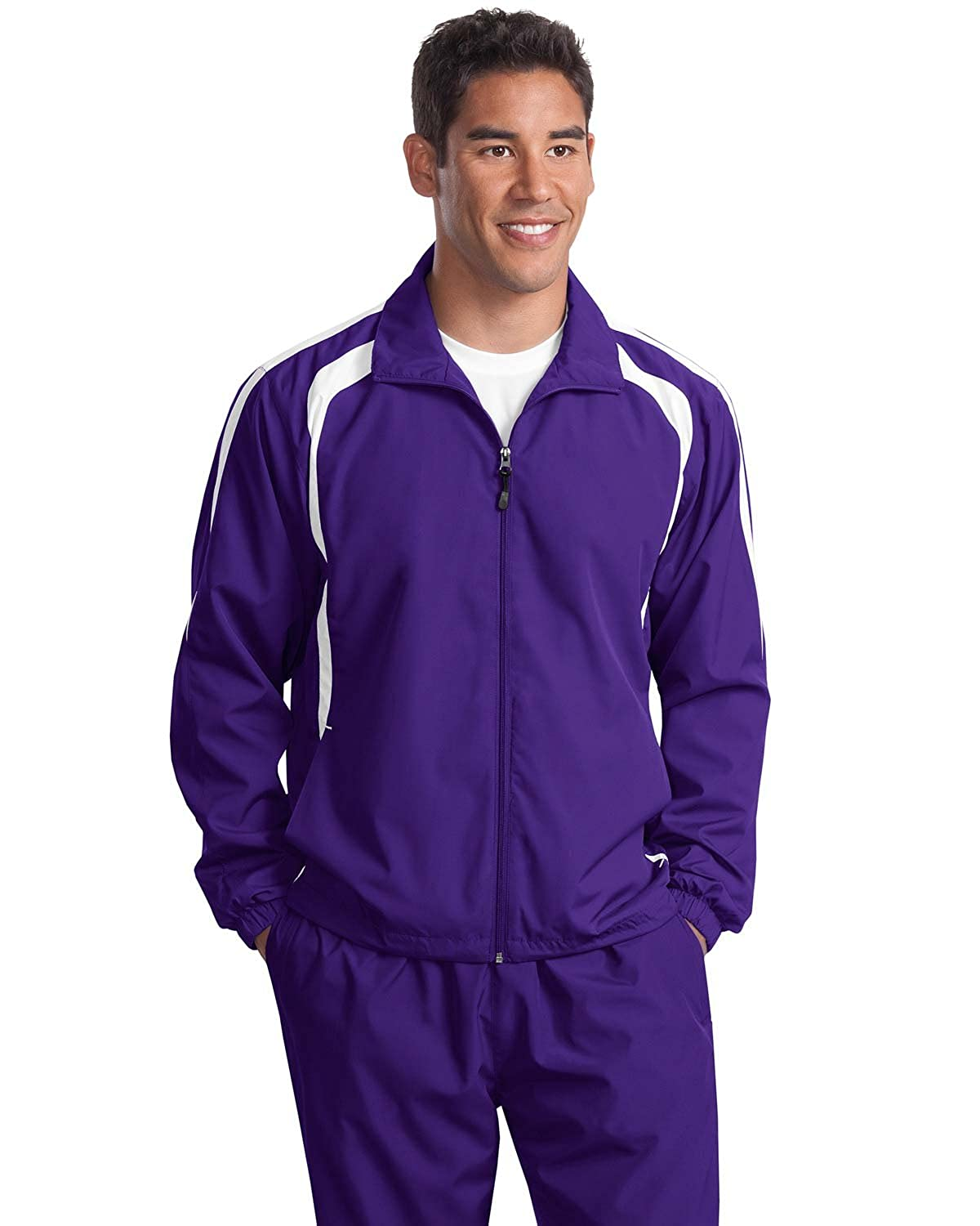 Sport Tek Mens Big Colorblock Raglan Jacket X-Large Purple//White