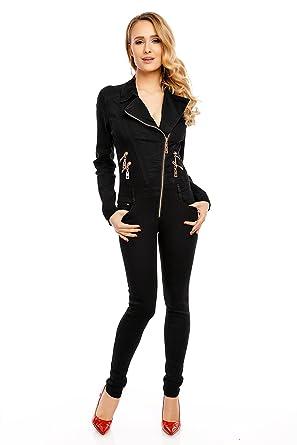 40125335ae1a81 Mayaadi Jeans Overall Hose Jumpsuit Catsuit Röhrenjeans Denim Langarm A681  Schwarz XL