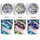 #7: PrettyDiva Chrome Fairy Dust Set, 3 Colors Starry And Mirror Effect Lightweight Iridescent Pigment For Nails