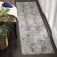 Safavieh Vintage Persian Collection VTP417T Brown and Light Blue Runner, 22 x 10