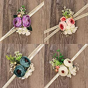WeddingWrist Corsages and Boutonnieres Silk Rose Corsages Prom Long Ribbon Artificial Wrist Flowers,PK 3