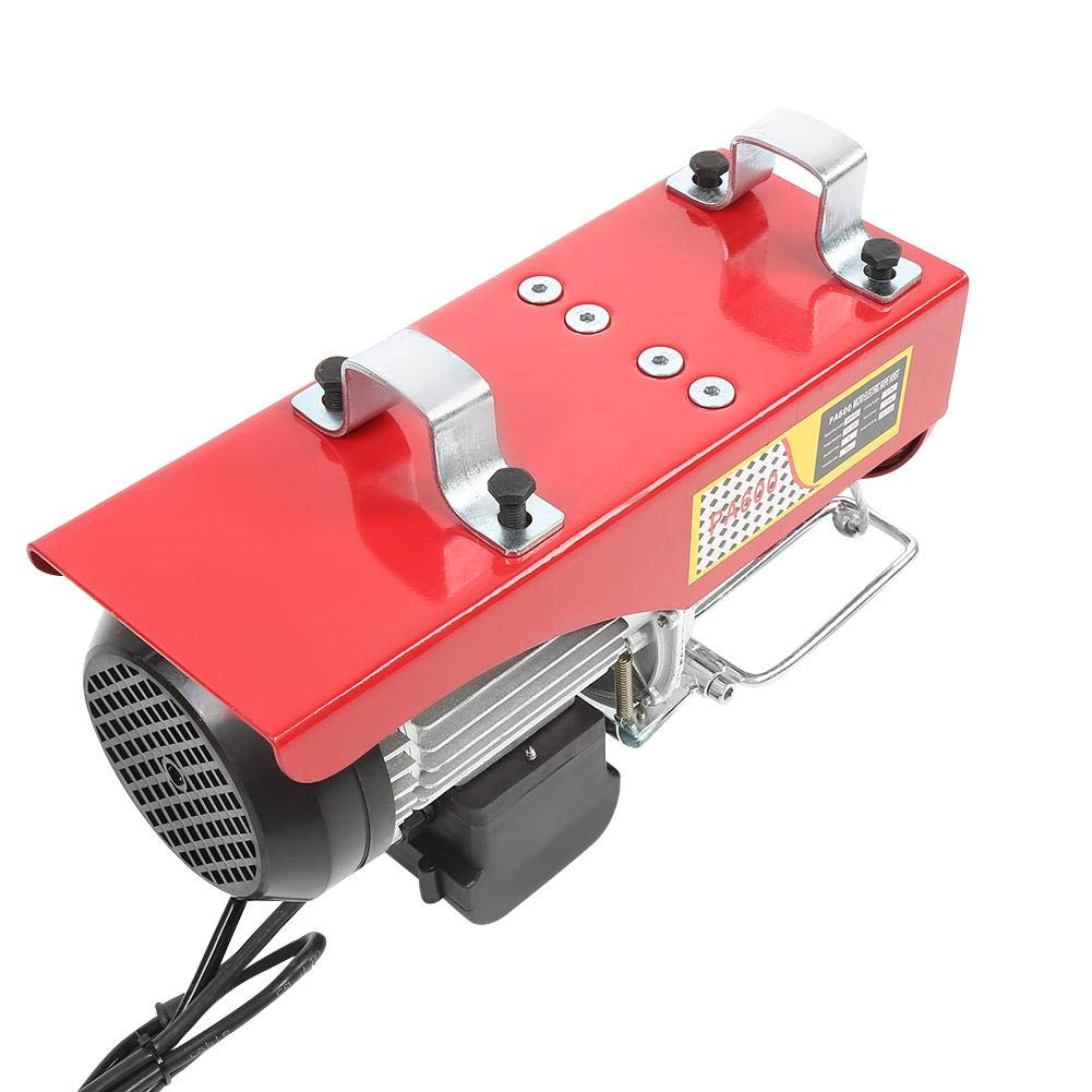 110V 1050W 300//600kg Single Hook//Double Hook Remote Control Cable Lifting Crane Electric Hoist Winch for Workshop Warehouse Garage Electric Hoist Crane