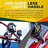 2PC LAMPHUS Off-Road LED Light Bar 0.75/1/1.25 Horizontal Bar Clamp Mounting Kit [Rubber Teeth] [Aluminum] [Includes Hex Key] [For Bull Bars, Roof Racks, Roll Cages] For ATVs, UTVs, and Trucks