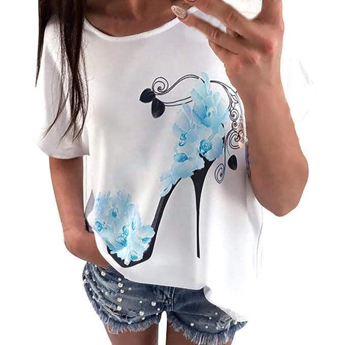 Camisetas Impresas de Los Altos Talones de Las Mujeres Camisa de Manga Corta Causal Tops ❤