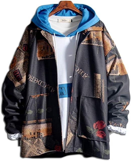 habille(ハビー)メンズ 長袖 古着風 ミリタリージャケット 個性的 襟付き メンズ 原宿系 ファッション 薔薇 おまけ付(2カラー)