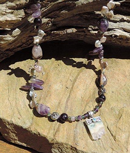 Flourite W/ Blue Topaz Pendant & Amethyst Necklace & Bracelet