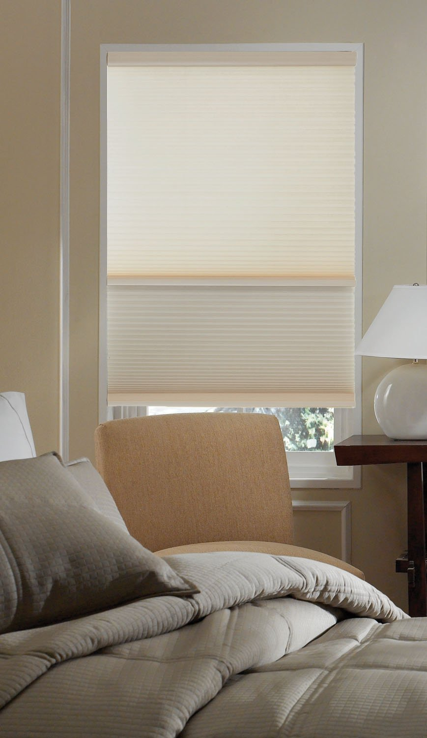 Cordless Day/Night Cellular Shade, 2 shades in 1-Blackout and Light Filtering in one shade. 51W x 63H, Cool White