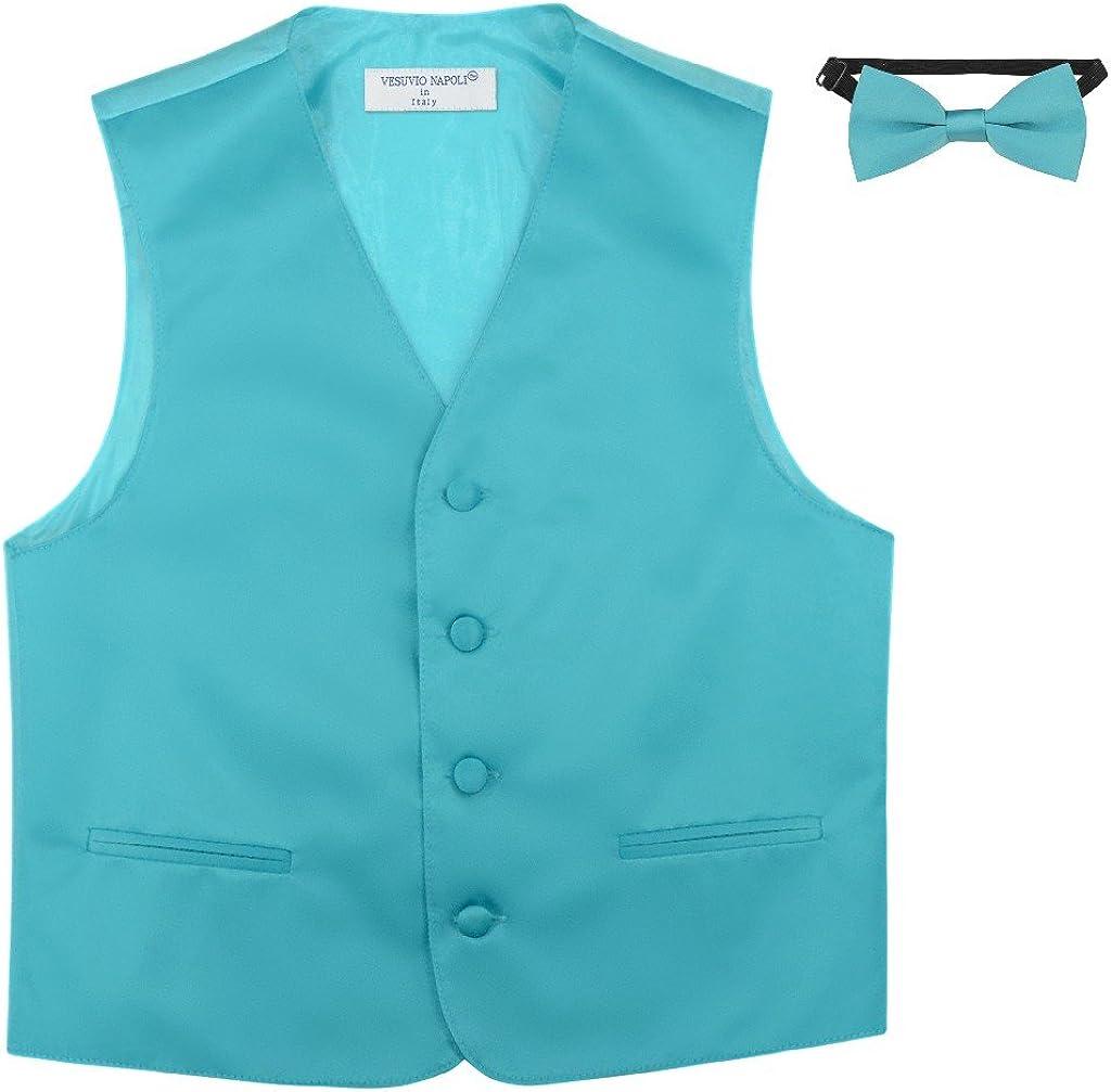 BOYS Dress Vest /& BOW Tie Solid TURQUOISE AQUA BLUE Color BowTie Set