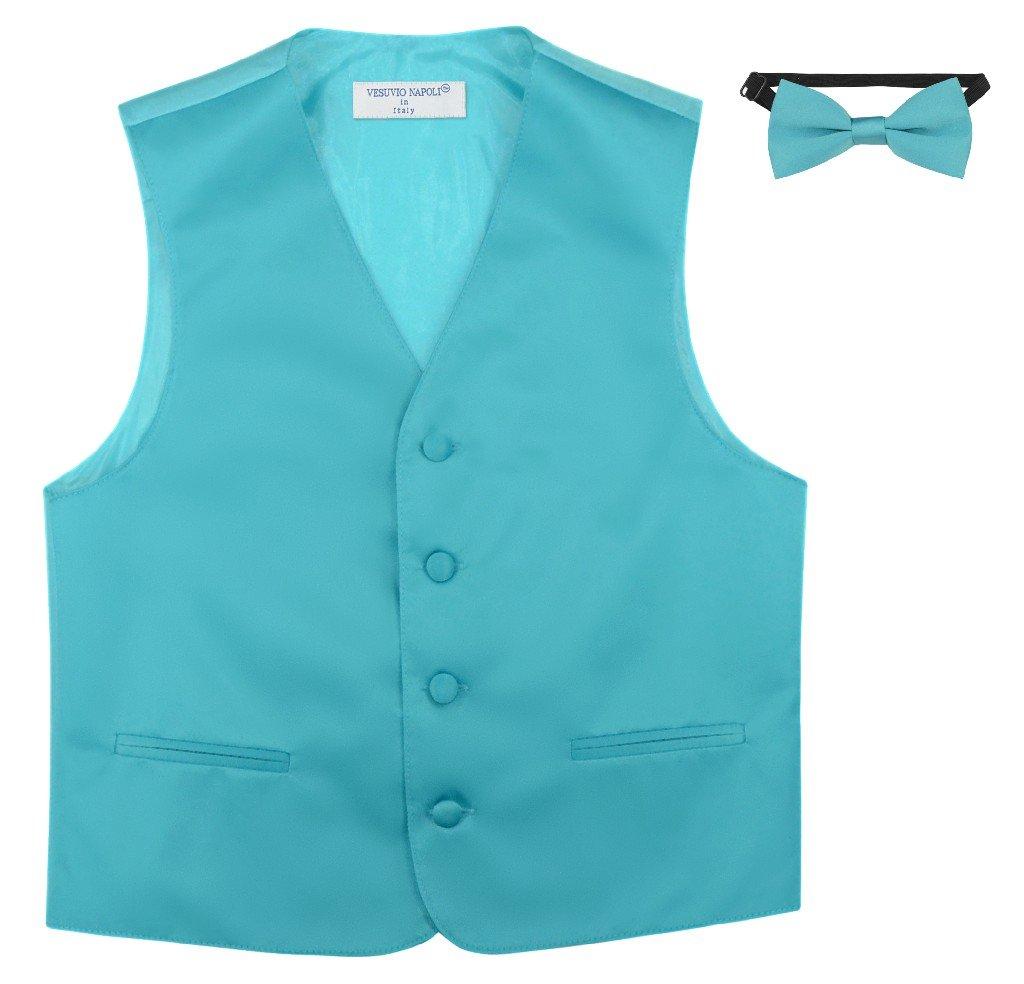 Boy's Dress Vest & Bow TIE Solid Turquoise Aqua Blue Color Bow Tie Set Size 2