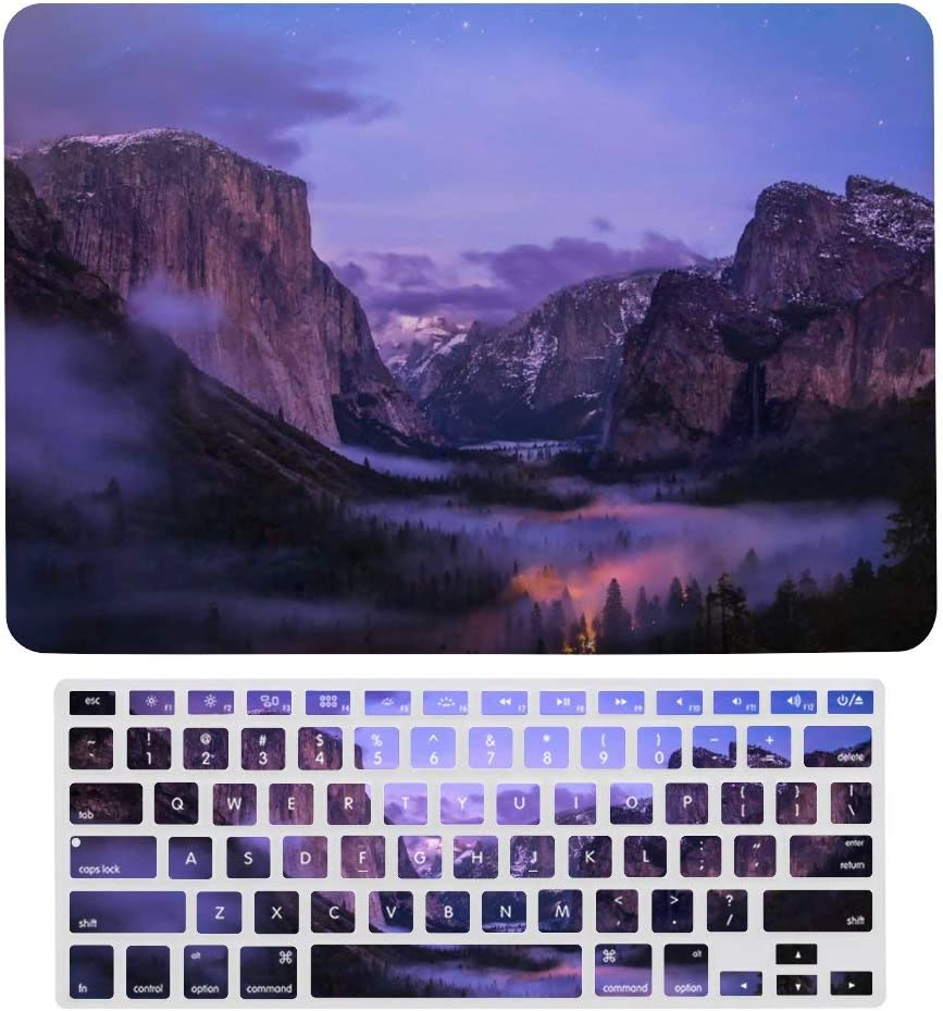 for MacBook Air 13 inch Case Keyboard Protective Shell Set Yosemite National Park California Valley Night Hard Shell Protective Case with Keyboard Cover for A1466、A1369