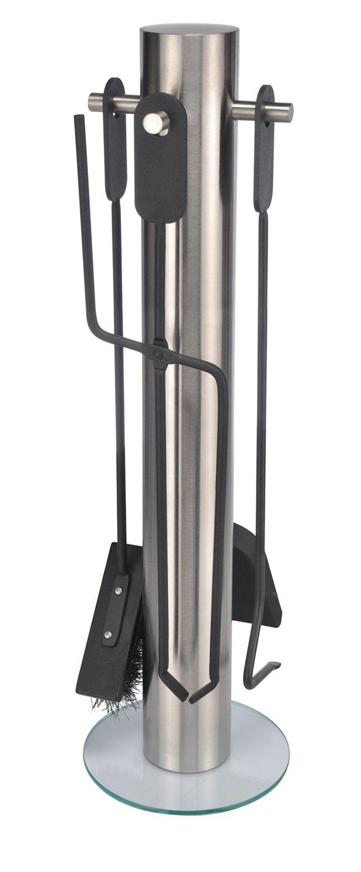 Luxuriöser Kaminbesteck-Ständer 5-teilig aus hochwertigem Edelstahl und Glas 60231