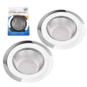 """2 Pack Kitchen Sink Strainer, Large Wide Rim 4.5"""" Diameter, Stainless Steel Drain Cover, Anti Clogging Mesh Drain Strainer for Kitchen Sinks Drain, Perforated"""