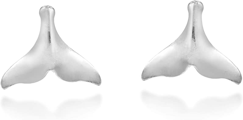 Everyday Unique Whale Tale or Fluke .925 Sterling Silver Stud Earrings