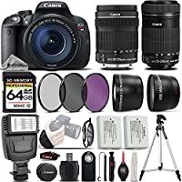 Canon EOS Rebel T5i DSLR Full HD 1080p Camera + Canon 18-135mm IS STM Lens + Canon 55-250mm IS STM Lens + Digital Camera Flash + 0.43x Wide Angle Lens + 2.2x Telephoto Lens - International Version