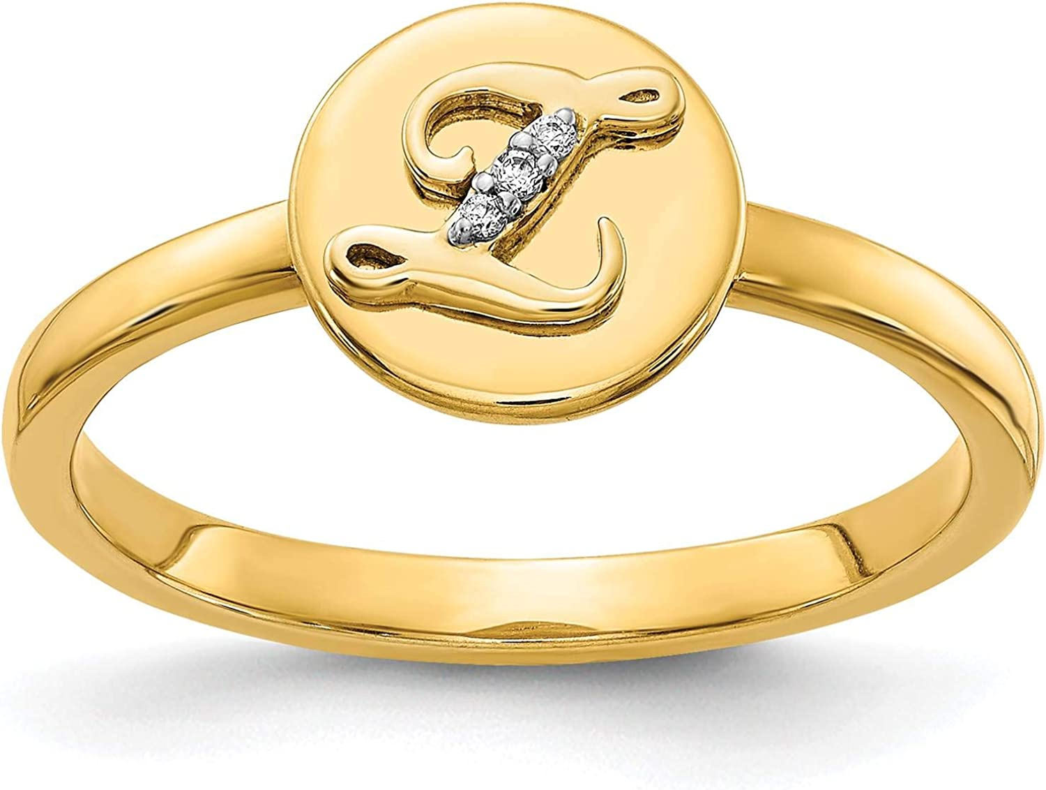 14k Yellow Gold w//Diamond Accent Initial Letter Z Ring Size 7