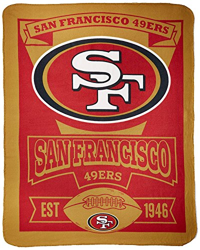 (The Northwest Company NFL San Francisco 49ers Marque Printed Fleece Throw, 50-inch by 60-inch)