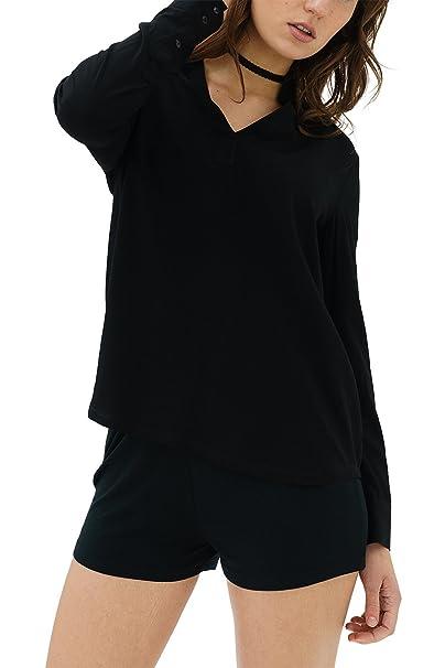 ... Mujer Marca Blusa Basico Ropa Retro Vintage Rock Vestir Moda Cuello V Manga Larga Slim Fit Designer Cool Urban Fashion Top Blouse Camiseta Color Negro ...