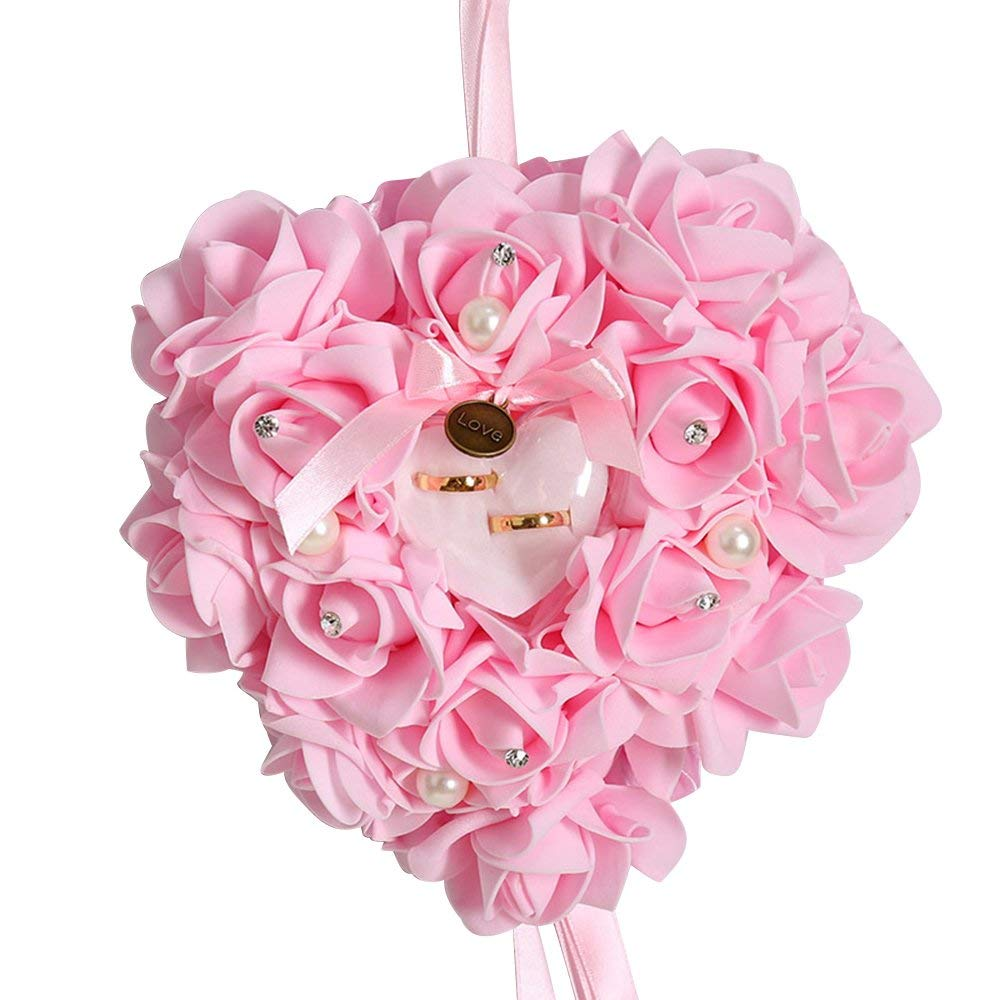 Yevison Romantic Simulating Rose Ring Pillow Heart Shaped Gift Decoration For Wedding Supplies Gift Premium Quality