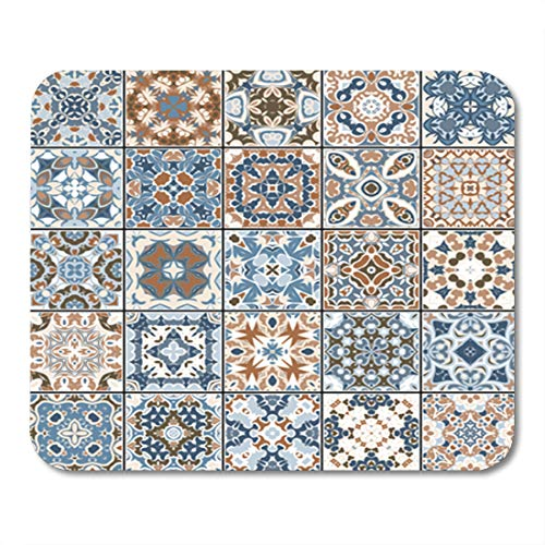 Semtomn Gaming Mouse Pad Collection of Ceramic Tiles in Blue and Brown Colors 9.5