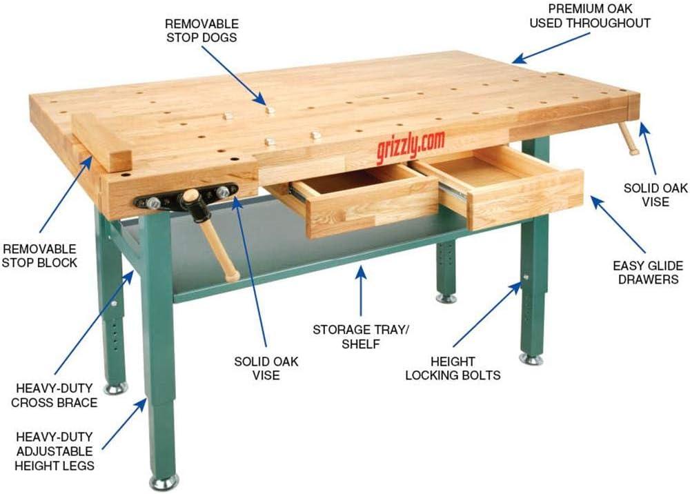 Grizzly T10157 Heavy-Duty Oak Workbench with Steel Legs