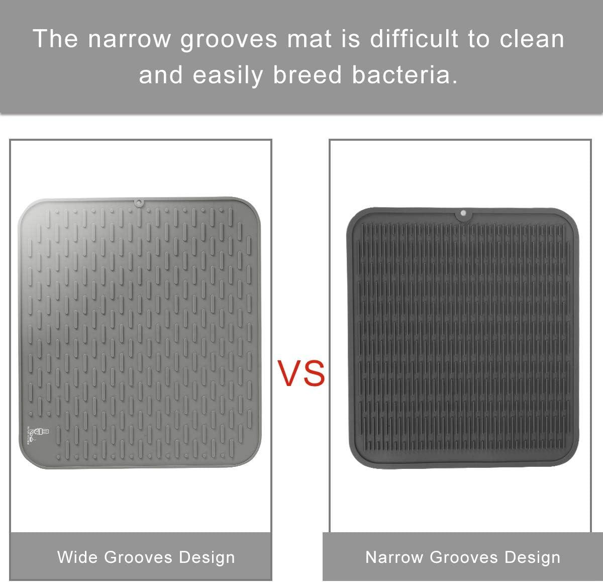 color gris con cepillo de limpieza multifuncional para la encimera alfombrilla escurridora posavasos resistente al calor 54 x 46 cm Gran vajilla de silicona para secado