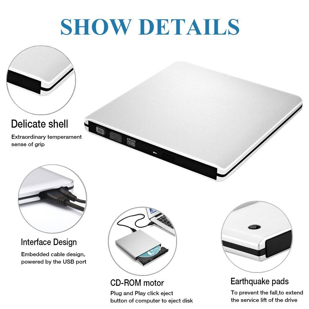 External CD DVD Optical Drive USB 3.0, Auelek Ultra Silm Portable CD DVD Player Rewriter Burner High Speed Writer for Laptop/Desktop/PC Support Mac OS Windows 7/8/10 by Auelek (Image #6)