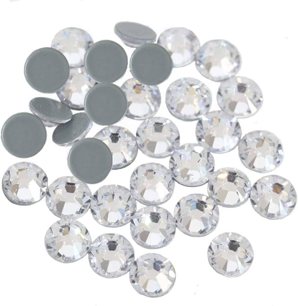 Flatback Glass Gems for Dance Costumes SS6 SS10 SS16 SS20 SS30 Hot Fix Crystals for Crafts Clothing Dowarm 2400 Pieces Mixed Size Crystal Clear Hotfix Rhinestones