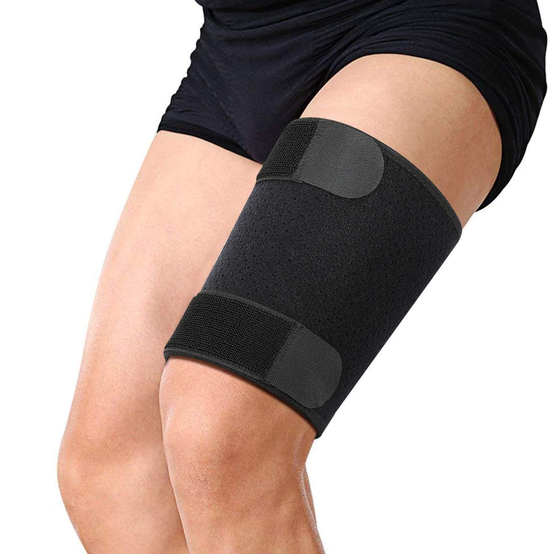 Thigh Brace, Compression Sleeve Support for Quad Groin Pain Relief, Breathable Non-Slip Elastic Thigh Brace Wrap for Men and Women Pulled Hamstring Inflammation Swelling Bruising Tendon Torn Muscle by DOACT