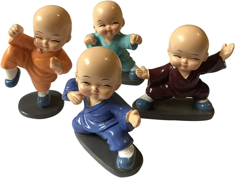 Kingzhuo Baby Buddhas Resin Crafts Ornament Little Monks Figurines Automotive Cute Kongfu Monk Car Interior Display Decoration Car Dashboard Decorations Car Home Decor 4 Pcs (8 x 5 cm)