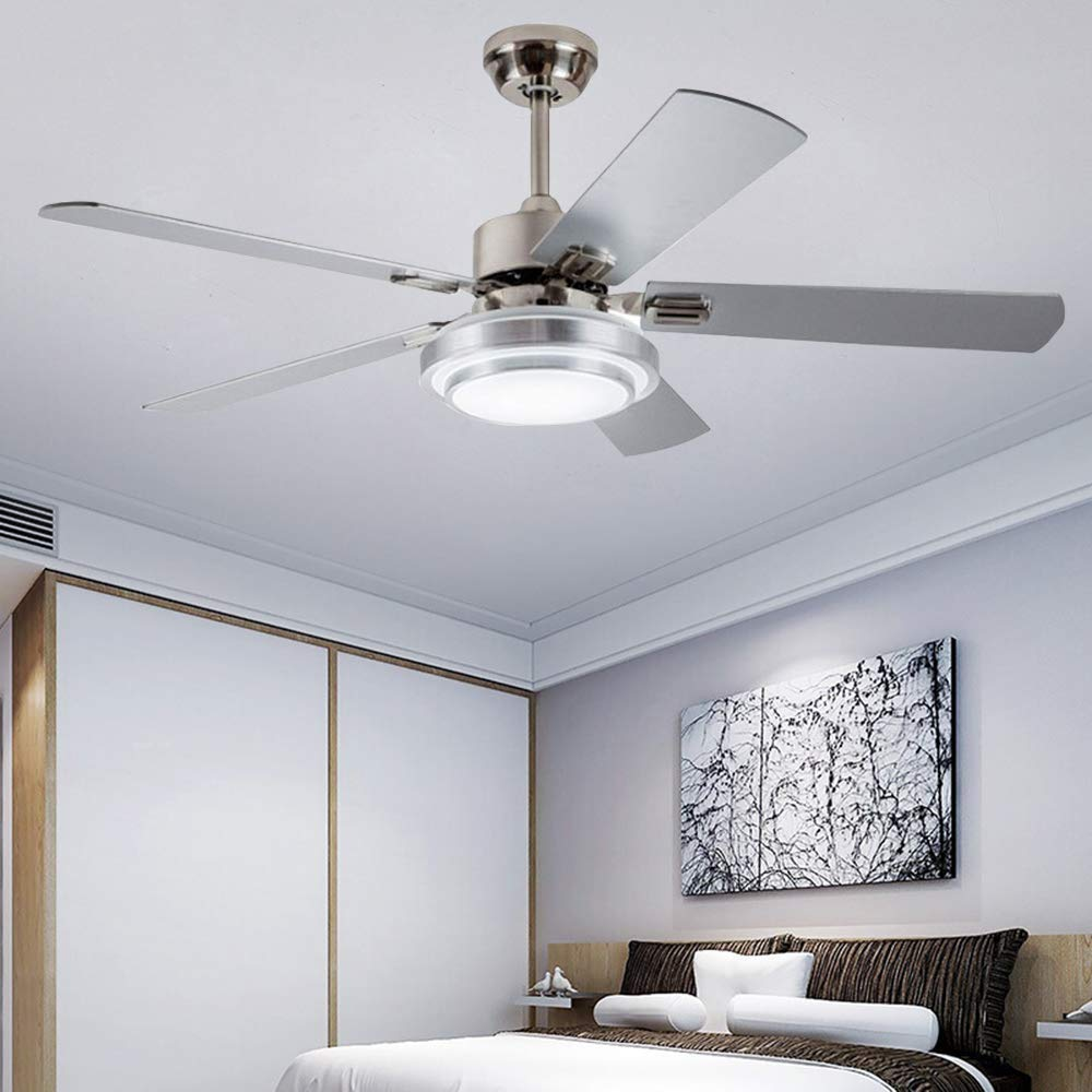 Modern Ceiling Fan with LED Light Remote Control, Brushed Nickel, 48-Inch
