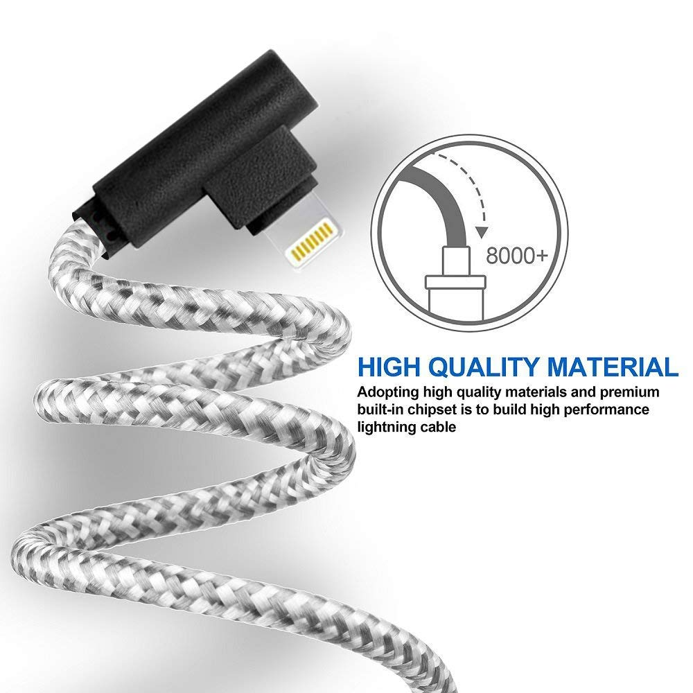 2.4A Current 90 Degree MFi Certified Cable Compatible with Phone Charger Xs//XS Max//XR//X // 8//8 Plus // 7//7 Plus//Pad 4 Pack: 3ft//6ft//6ft//10ft and More Made for The Game Connecting Cable Grey