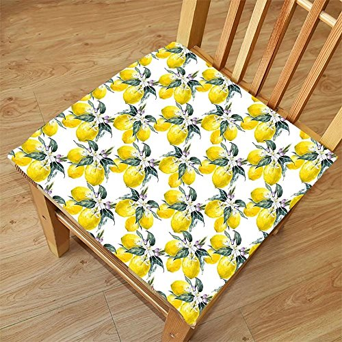 Nalahome Set of 2 Waterproof Cozy Seat Protector Cushion Nature Lemons Flowers Inspirational Summer Season Fruits Mother Earth Boho Pattern Reseda Green Yellow Printing Size 16x16inch