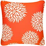Wabisabi Green Mum 18 x 18 Inch Decorative Modern Eco Friendly Square Throw Pillow Cover, Tangerine Orange