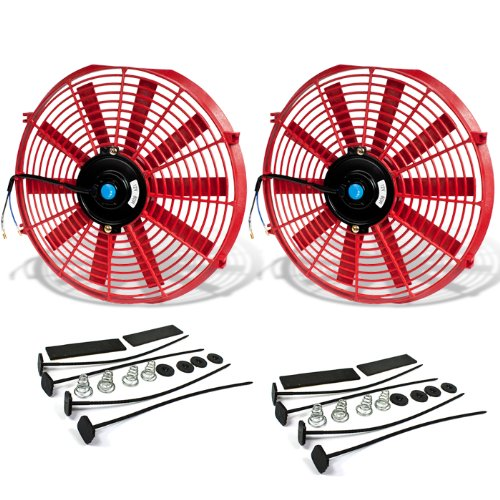 ((Pack of 2) 14 Inch High Performance 12V Electric Slim Radiator Cooling Fan w/Mounting Kit - Red)