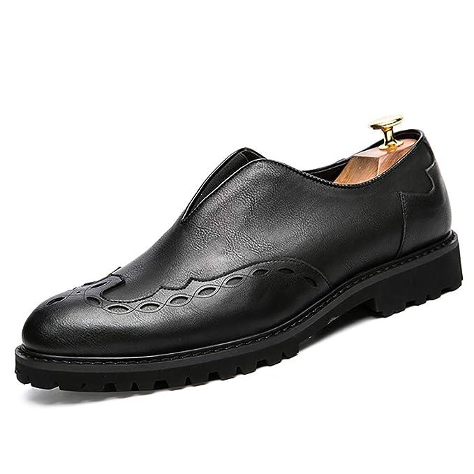 FHTD Calzado de negocios para hombres Cuero Primavera Otoño Mocasines transpirables y zapatillas sin cordones,