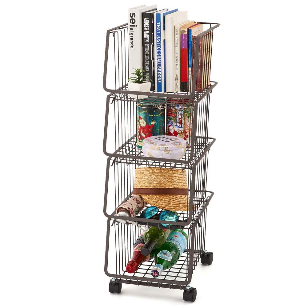 EZOWare 4-Tier Metal Utility Rack Shelves, Stackable Baskets Organizer Bins Rolling Metal Cart for Kitchen Pantry Office Garage by EZOWare