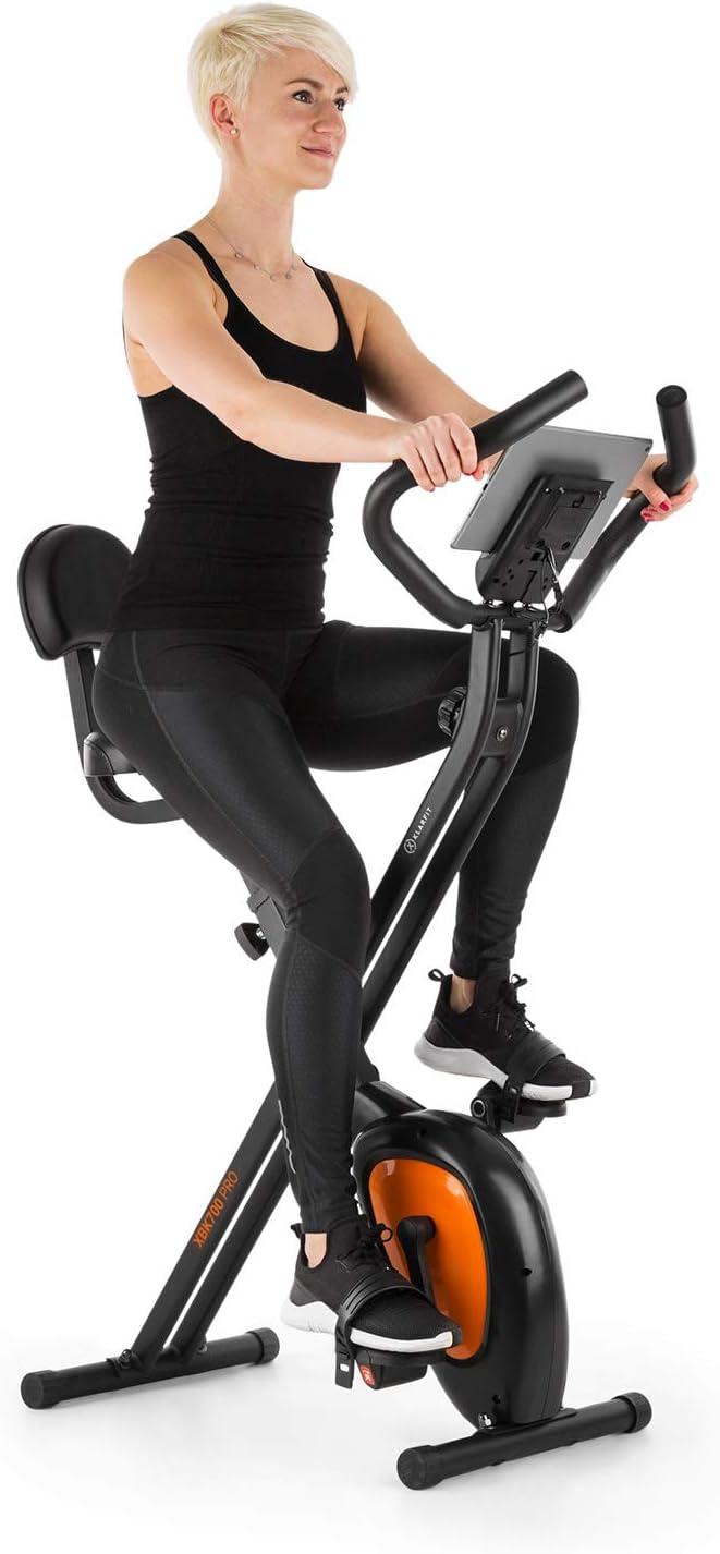KLAR FIT X-Bike XBK700 Pro - Bicicleta estática, Bicicleta Fija de Cardio, Ergómetro, Ordenador de Entrenamiento, Pulsómetro, Plegable