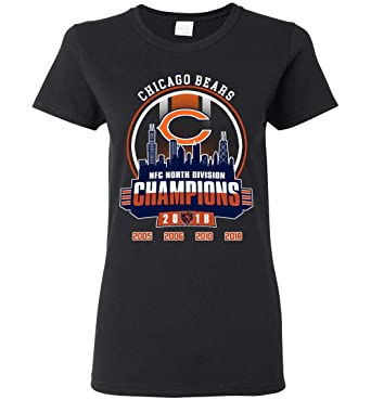 382e08016 Chicago-Bears NFC-North-Division Champions 2018 Football Chicago-Bears Champions  2018 Ladies Short-Sleeve at Amazon Women's Clothing store: