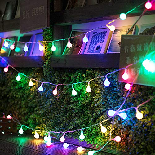(Ghost 17ft 50 LED Globe String Lights 8 Dimmable Lighting Modes with Remote & Timer UL Listed Waterproof Decorative Lights for Christmas Bedroom Patio Garden Parties(Multi Color))