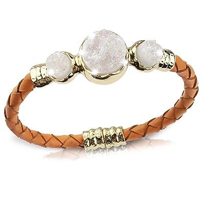 Retro Shaw Natural Crystal Bracelet White Gold Plated Bangle Bracelet for Women Adjustable Bracelet Gifts Nickel Free ZSBzc
