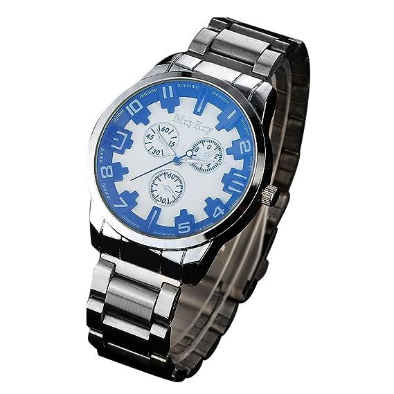 SamMoSon Relojes Hombre Resistentes Al Agua Mujer Azul Elegantes,Reloj De Pulsera De Cuarzo Analógico De Acero Inoxidable Mcykcy Simple para Hombres: ...