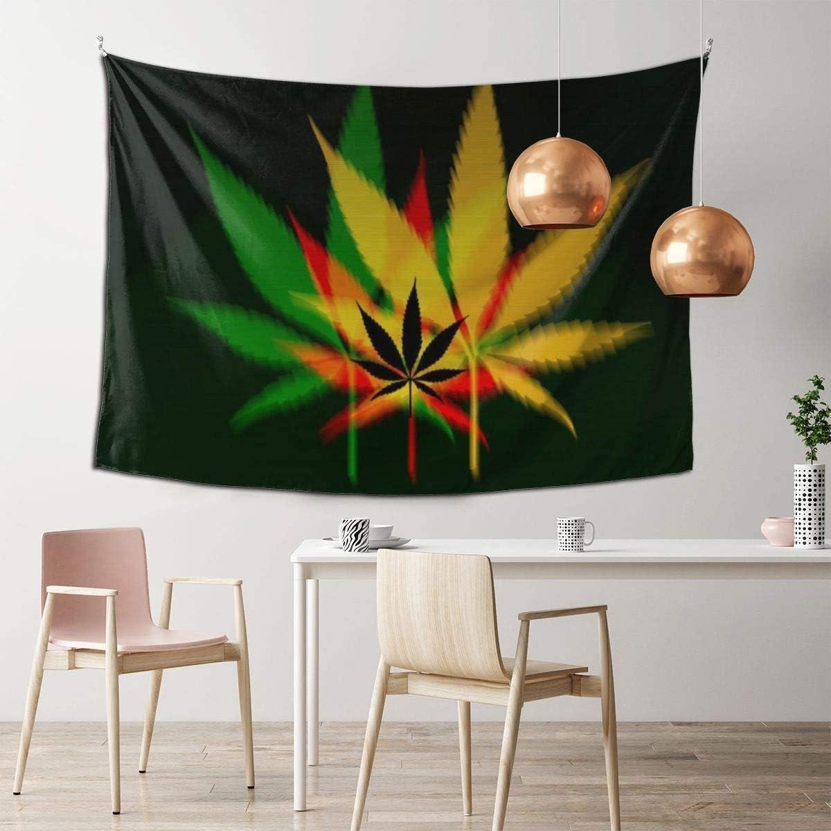 N/A Tapiz de marihuana con diseño de hojas de marihuana, decoración de pared, mandala playa, colcha intrincada india, tapiz de 101 x 152 cm