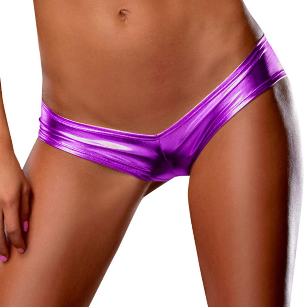 bb5fea4d863c Wesracia Women's Faux Leather Underwear Sexy Ultra-Low Waist Thong ...