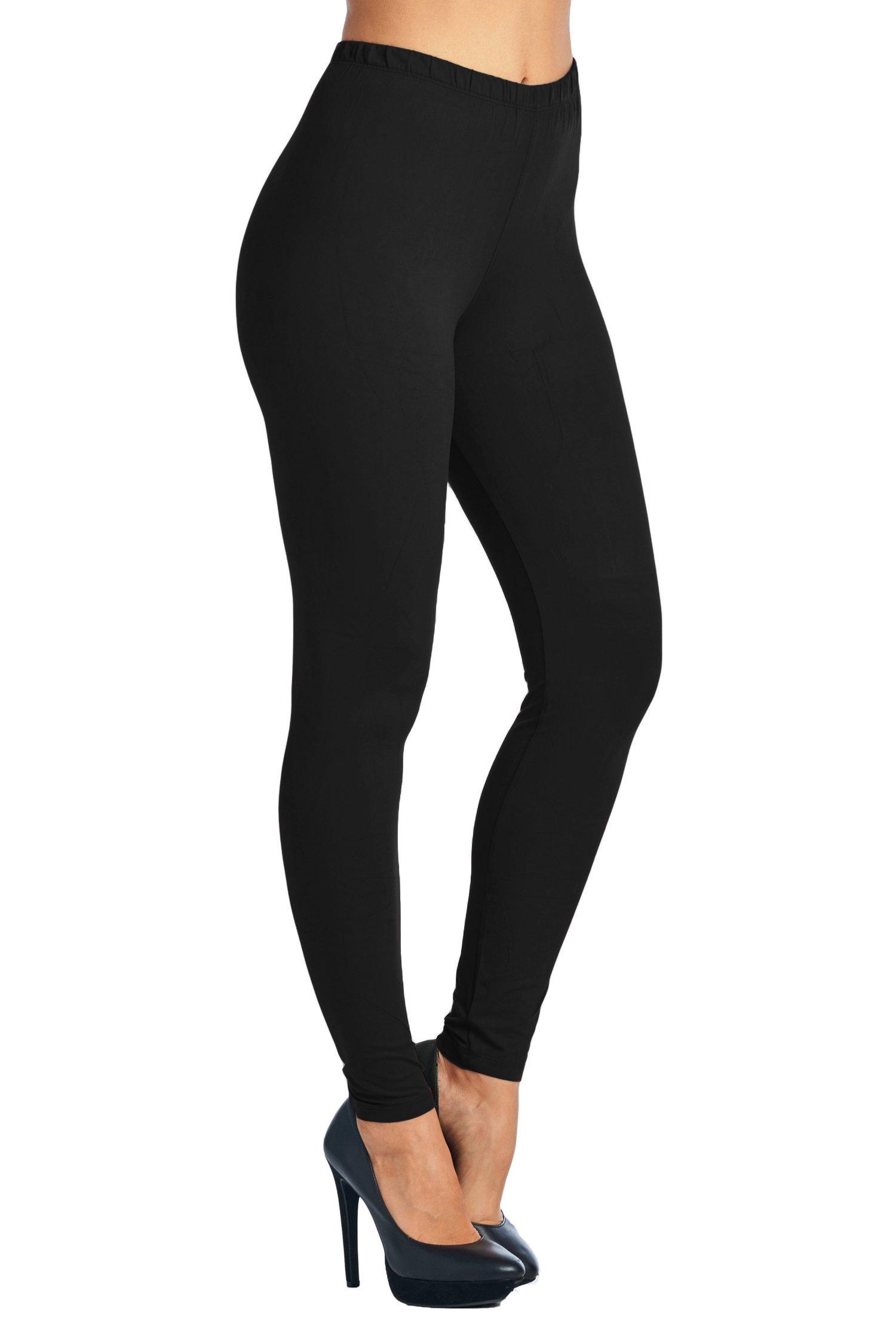 Leggings Mania Women's Solid Color Full Length High Waist Leggings, Black, One Size