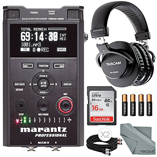 Marantz Professional PMD-661 MKIII Handheld Solid-State Recorder with File Encryption W/ Accessory Bundle, Headphones, and FiberTique Cloth by Photo Savings