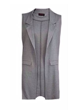 b2db4290a24619 NEW WOMENS LONG DUSTER JACKET WOMENS SLEEVELESS WAISTCOAT SMART BLAZER TOP  GREY UK 8-14 (UK 8)  Amazon.co.uk  Clothing