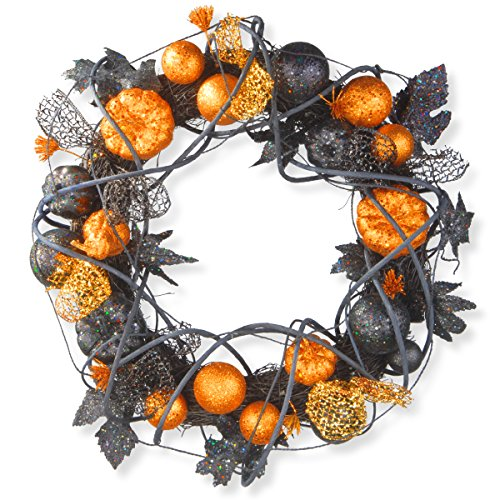 National Tree 20 Inch Halloween Wreath with Orange and Black Glittered Pumpkins, Gourds and Ball Ornaments (Halloween Wreaths)